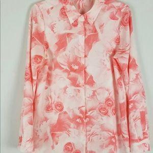 Karl Lagerfeld pastel peach roses blouse XL